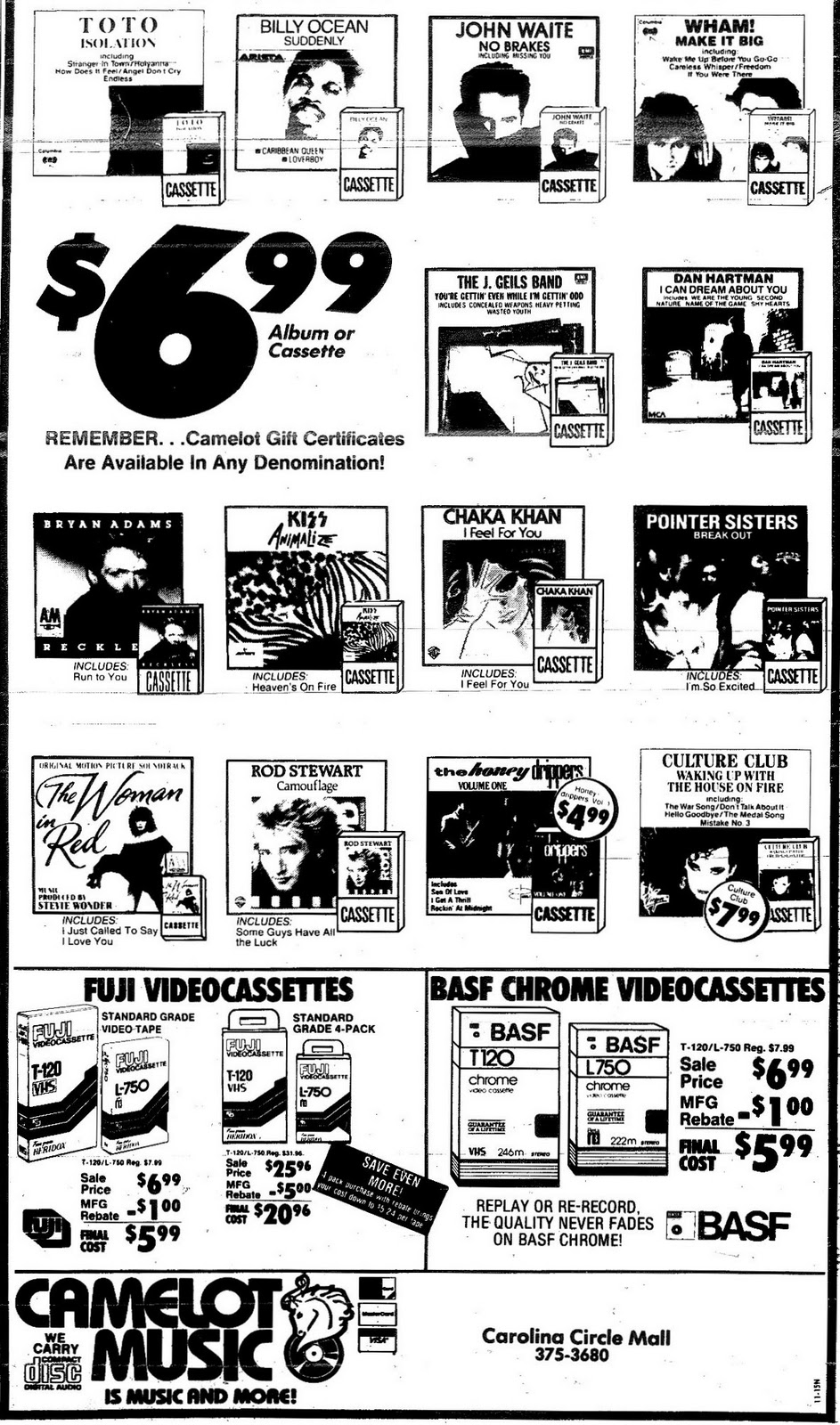 Camelot Music Ad November 1984